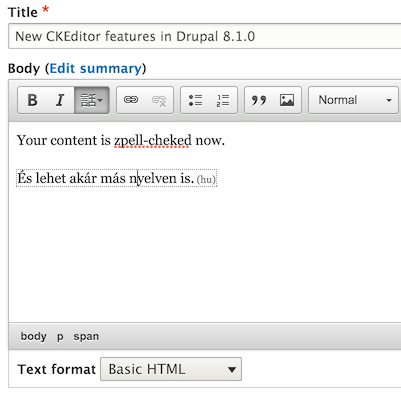 CKEditor in Drupal 8.1 with language and spelling buttons