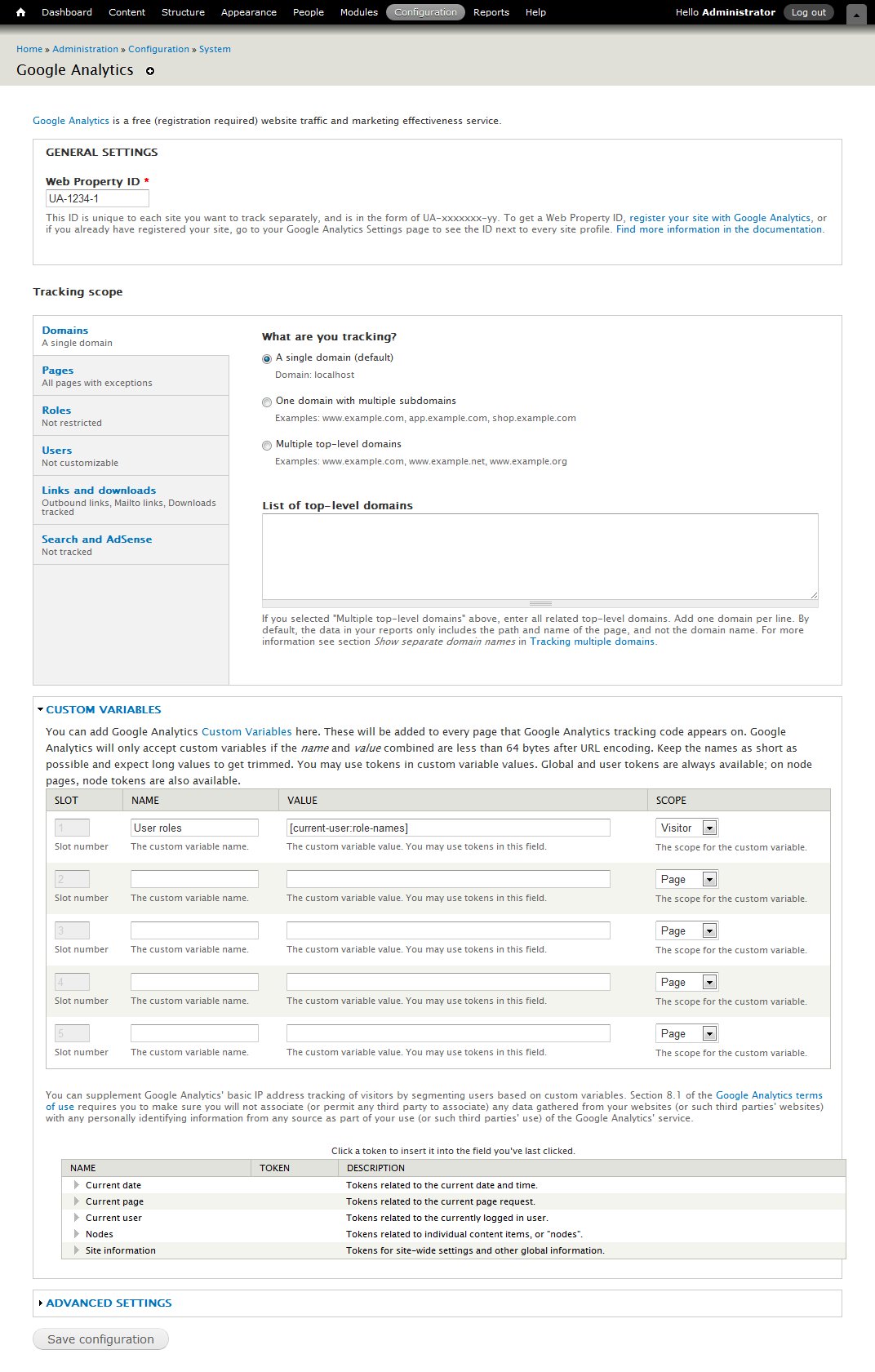 Google Analytics Drupal module admin screen.