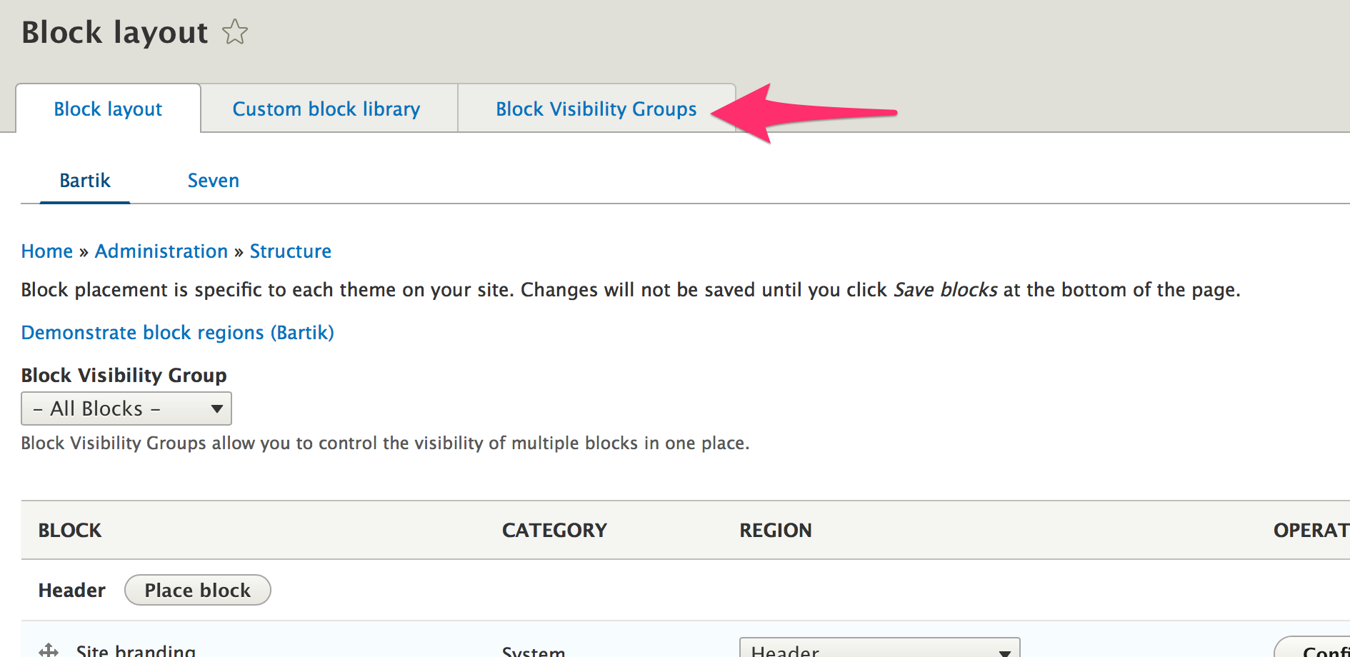 Click 'Block Visibility Groups'