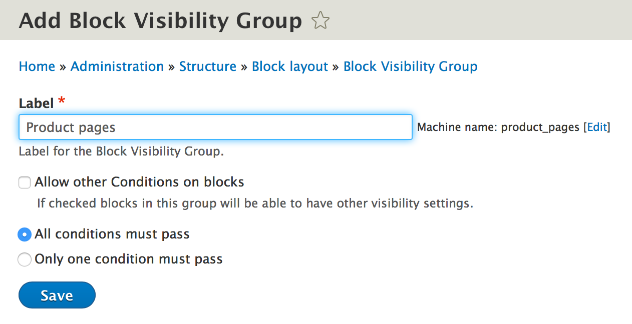 Name the block visibility group