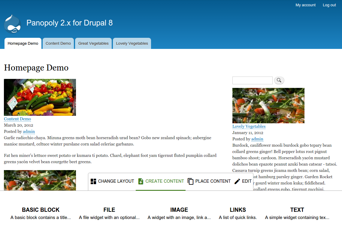 Drupal 8 Panopoly launch page