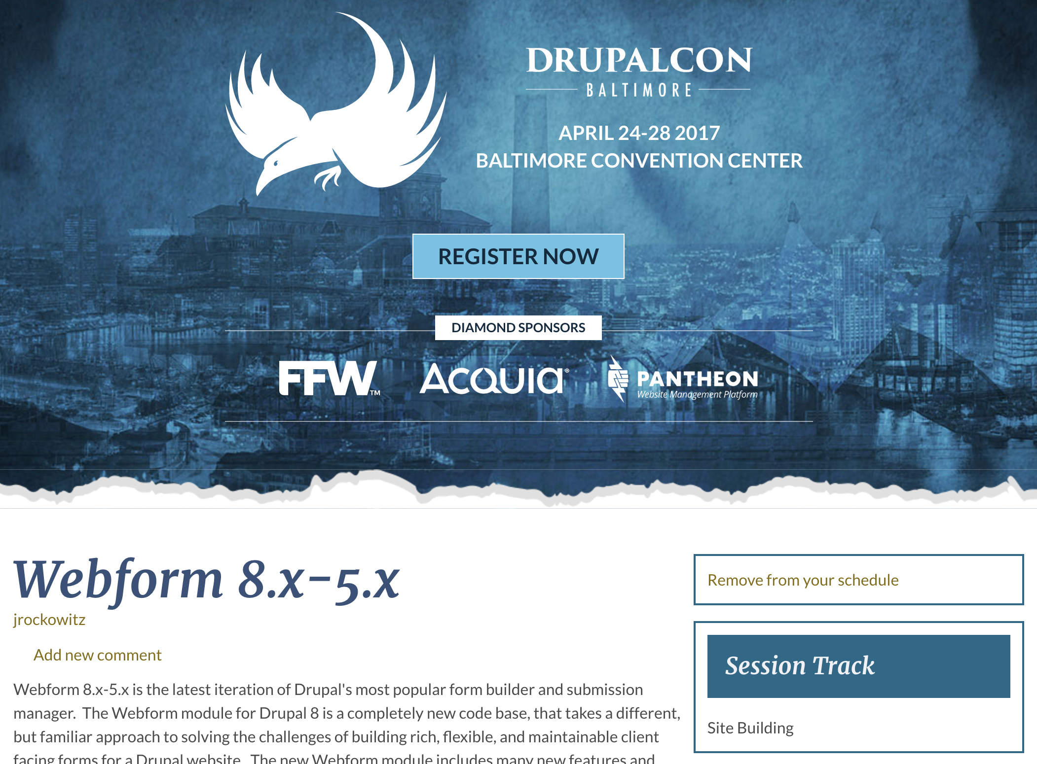 Webform session - DrupalCon Baltimore 2017
