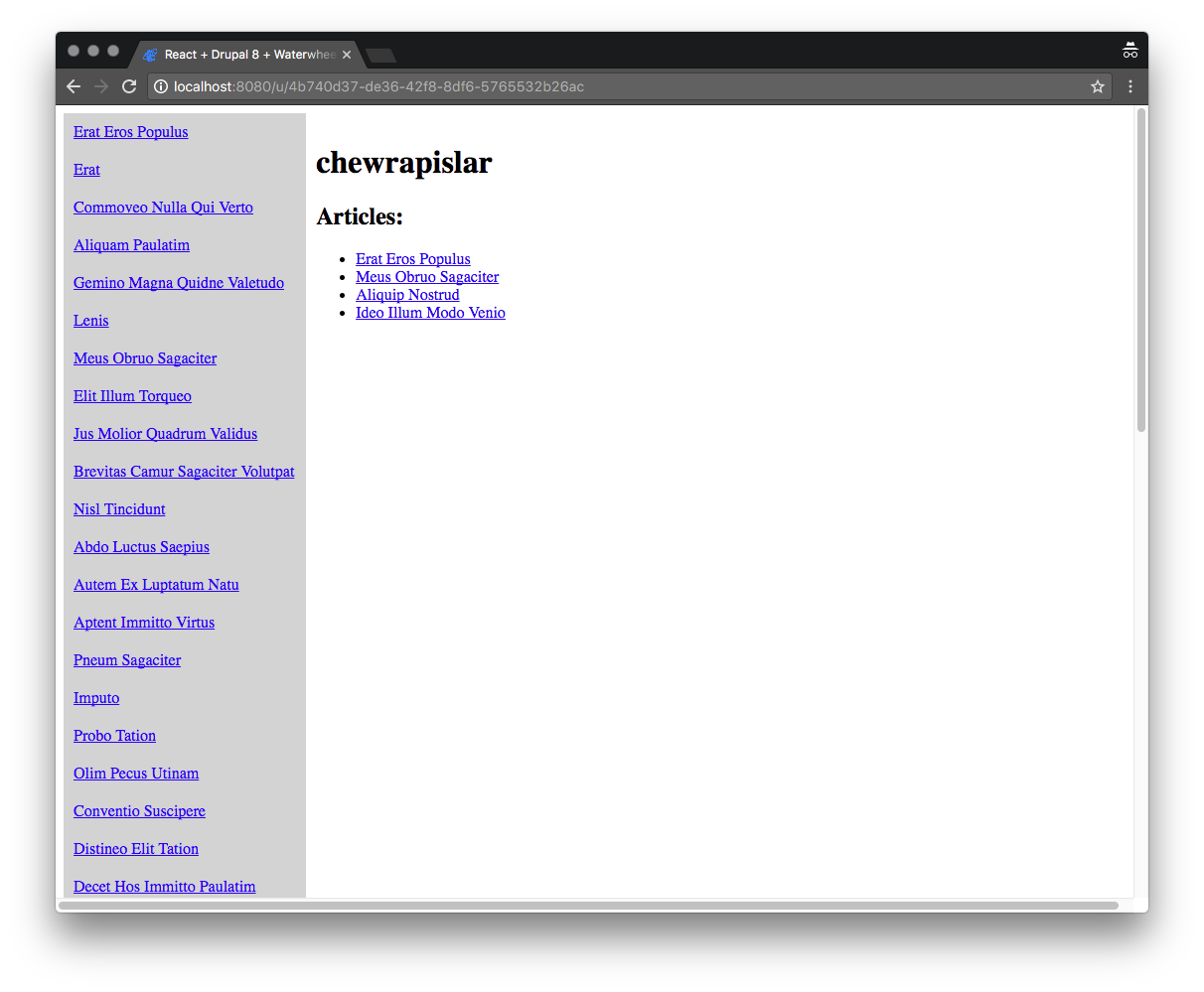 Image containing screenshot of user page on react-waterwheel-app