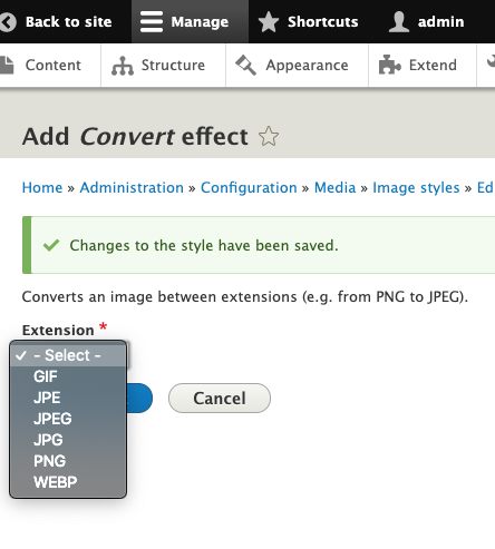 web convert effect in Image Magick
