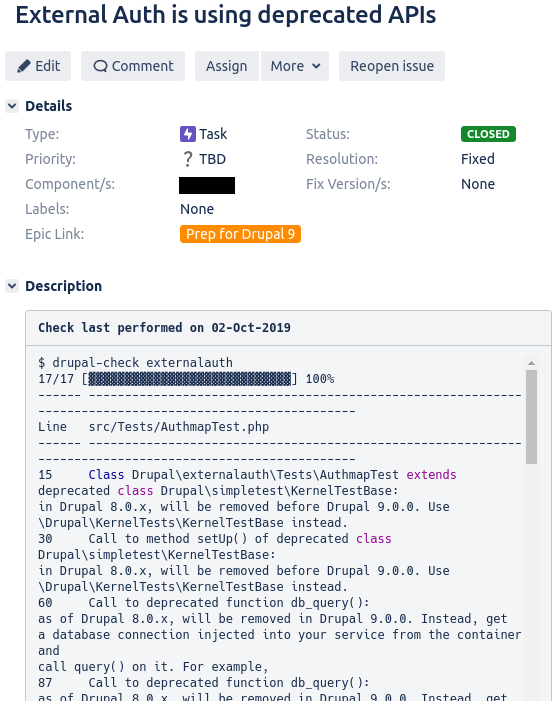 Sample Jira ticket to track Drupal Check status